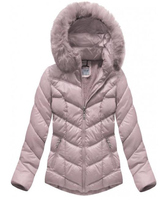 Dámska prešívaná zimná bunda MODA038-AB pudrovoružová
