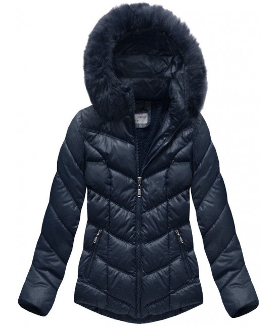 Dámska prešívaná zimná bunda MODA038-AB tmavomodrá