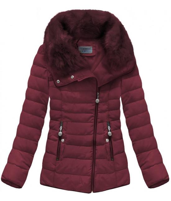Prešívaná dámska zimná bunda MODA058 bordová