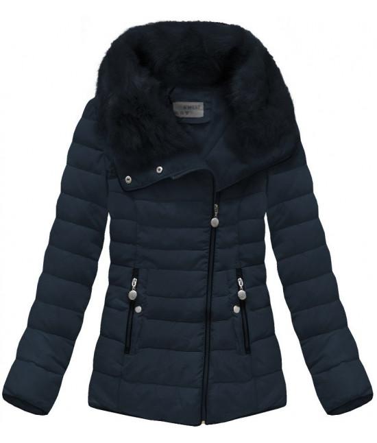 990cca984c Prešívaná dámska zimná bunda MODA058 tmavomodrá - Dámske oblečenie ...