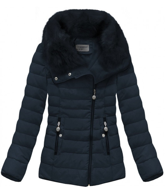 Prešívaná dámska zimná bunda MODA058 tmavomodrá 04009cc0620