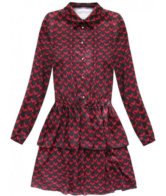 89baaeedfc38 Dámske košeľové šaty čierno-červené MODA150 - Dámske oblečenie ...