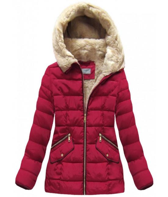 Dámska prešívaná zimná bunda MODA051 bordová