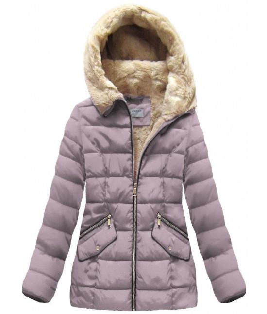 Dámska prešívaná zimná bunda MODA051 ružová