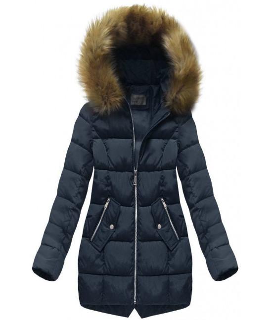 Dámska prešívaná zimná bunda s kapucňou MODA1050 modrá