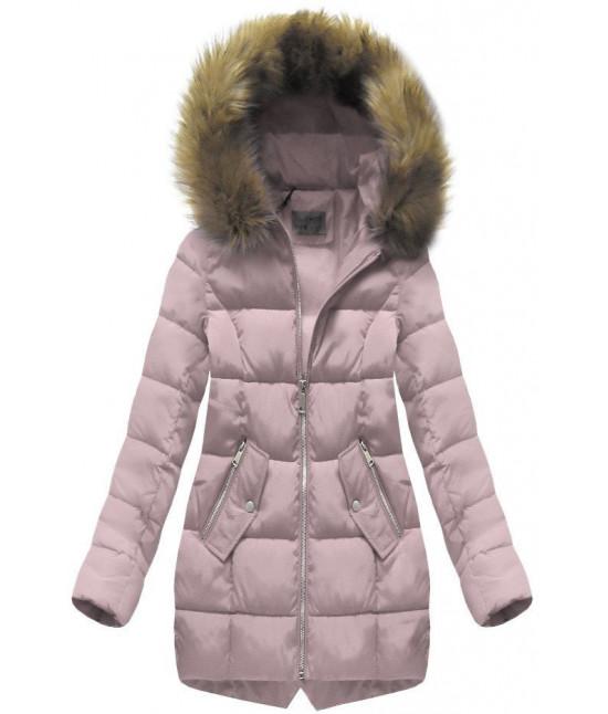 Dámska prešívaná zimná bunda s kapucňou MODA1050 pudrovoružová