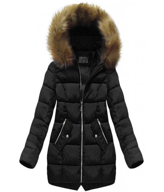 Dámska prešívaná zimná bunda s kapucňou MODA1050 čierna