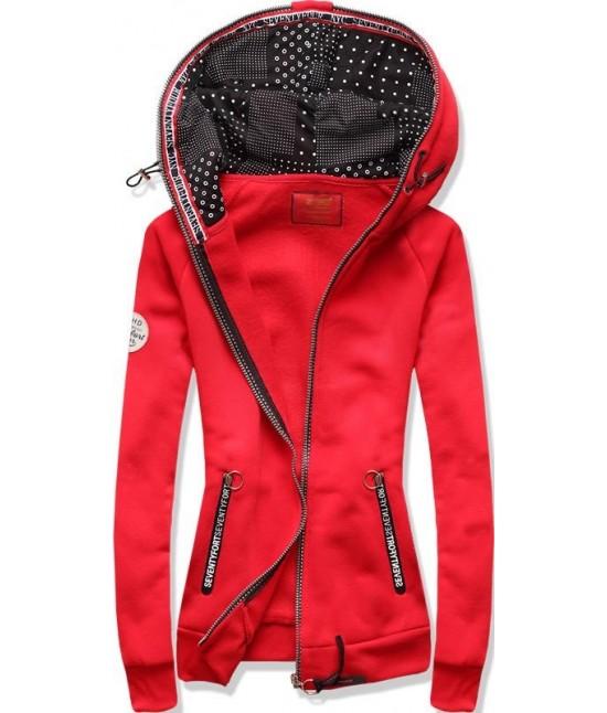 Dámska mikina MODA525 červená veľkosť S - Dámske oblečenie  2a0e81e31a2