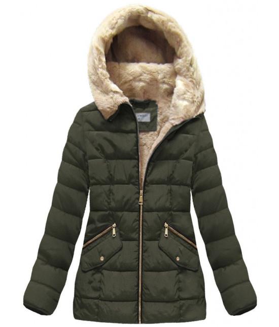 Dámska prešívaná zimná bunda MODA051 khaki