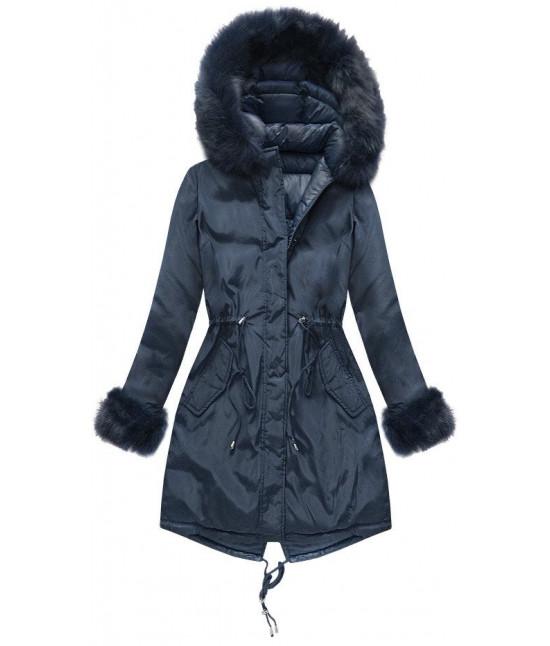 acf74bfb6ecc Dámska obojstranná zimná bunda MODA210 tmavomodrá - Dámske oblečenie ...