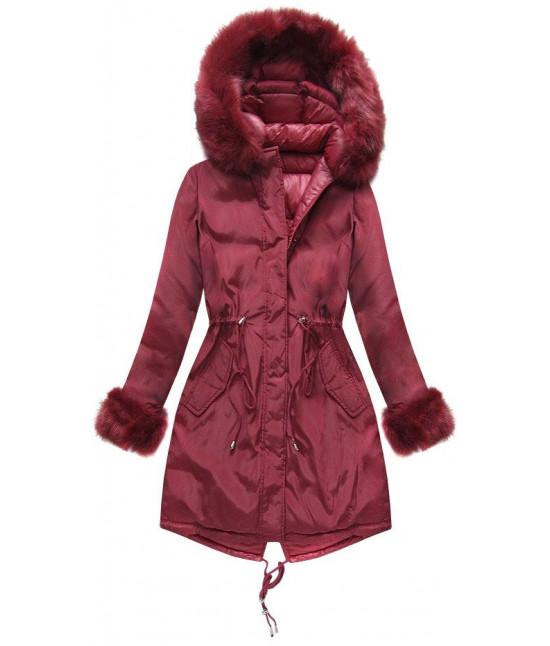 Dámska obojstranná zimná bunda MODA210 bordová