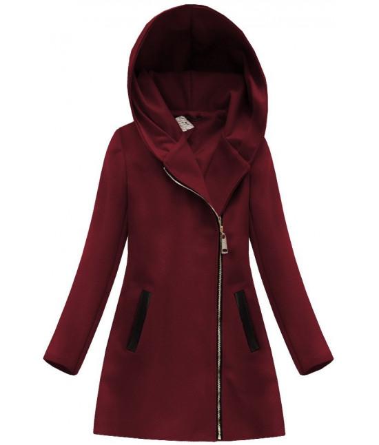 79ec221def Dámsky vlnený kabát s kapucňou MODA766 bordový - Dámske oblečenie ...