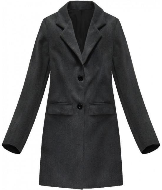 Jednoradový dámskych kabát MODA760 tmavošedý