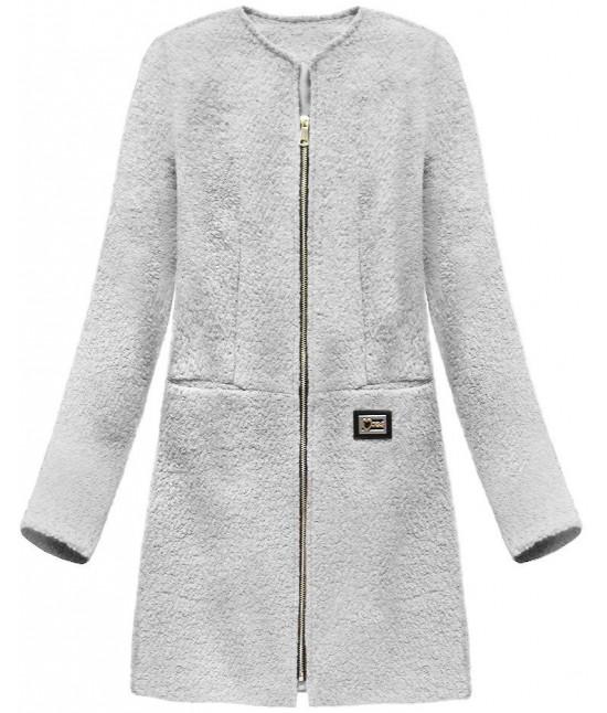 Dámsky vlnený kabát MODA643 šedý