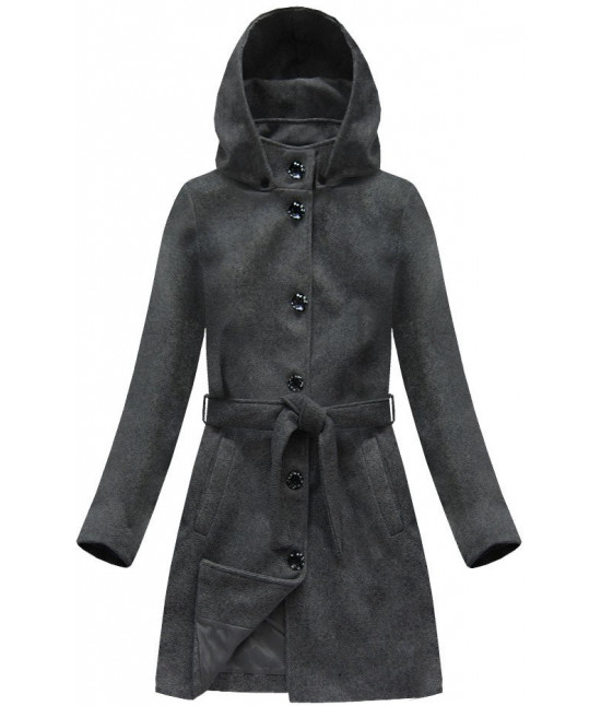 Dámsky kabát s kapucňou  MODA798 tmavošedý