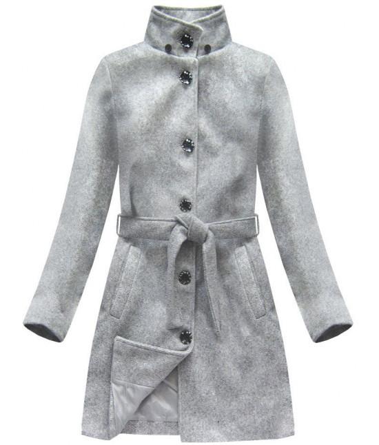 Dámsky kabát s kapucňou MODA798 šedý - Dámske oblečenie  939b14d4067
