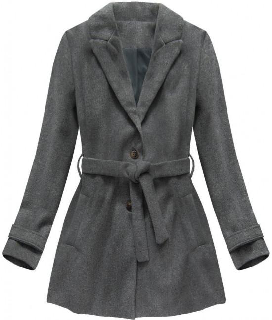 Dámsky kabát s opaskom MODA808 tmavošedý