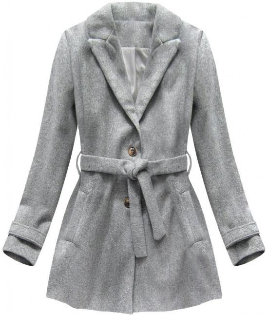 Dámsky kabát s opaskom MODA808 šedý
