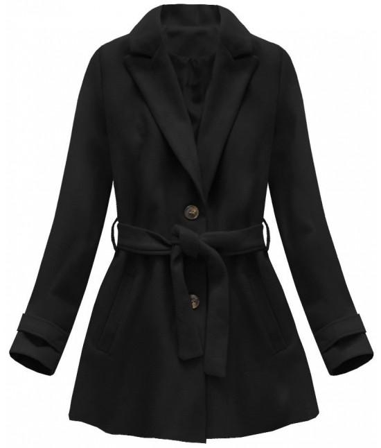 Dámsky kabát s opaskom MODA808 čierny