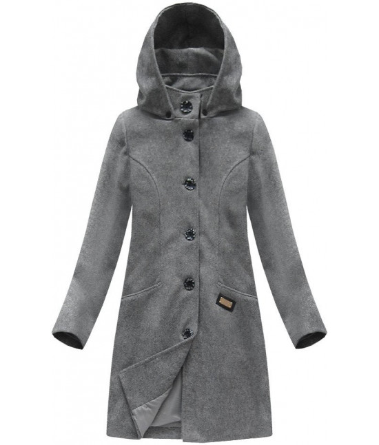 Dámsky vlnený kabát MODA801 tmavošedý