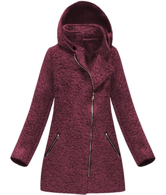 Dámsky asymetrický kabát MODA174 bordový