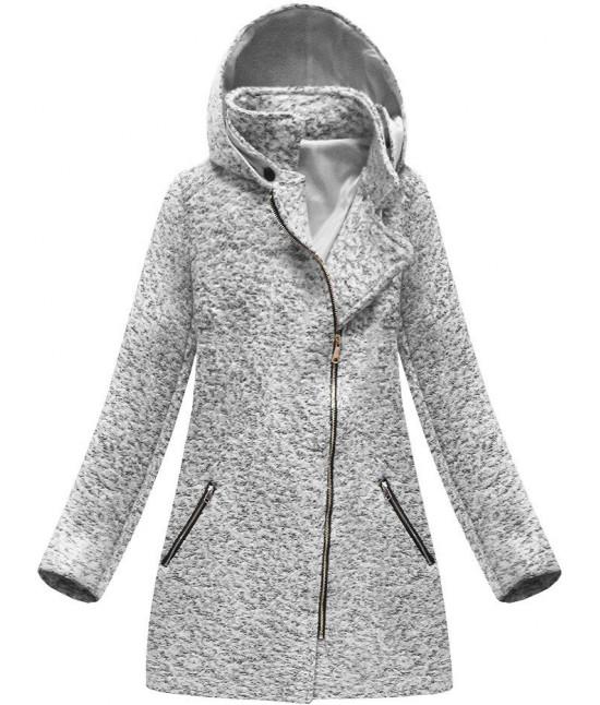 Dámsky asymetrický kabát MODA174 šedý 44b7cbc9fe3