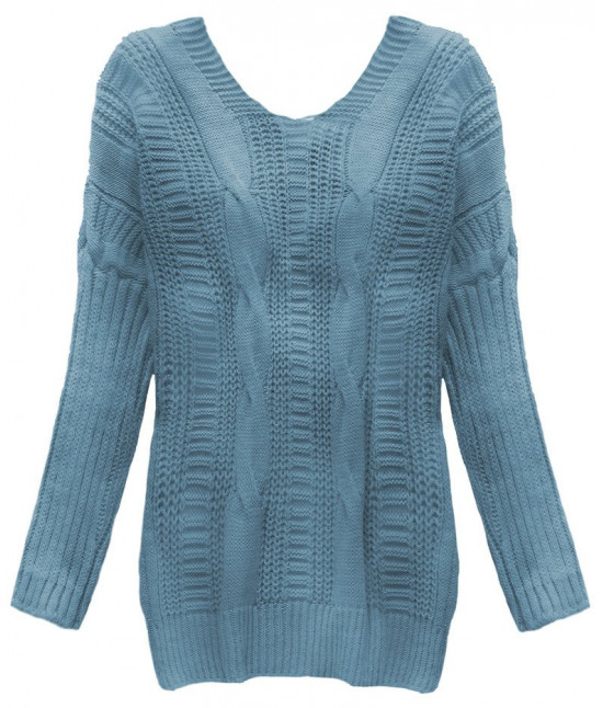 Dámsky sveter s viazaním na chrbte MODA183 modrý