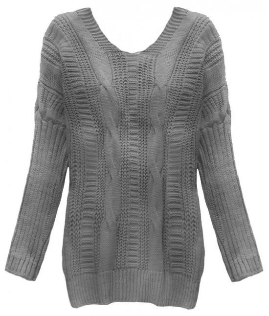 Dámsky sveter s viazaním na chrbte MODA183 tmavošedý