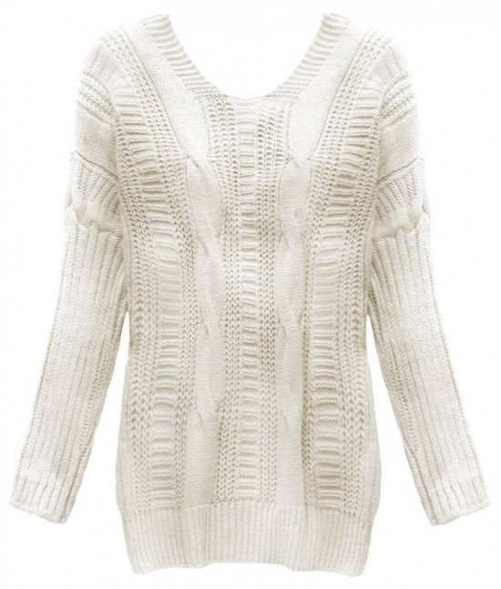 Dámsky sveter s viazaním na chrbte MODA183 béžový