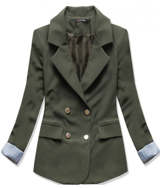 Dámske sako s ozdobnými gombíkmi MODA6582 zelené XL