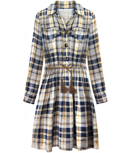 a1d74c1e60d7 Dámske bavlnené šaty MODA188 modro-béžové