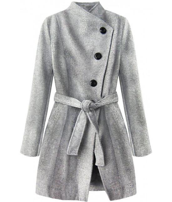 91d4e0d9e0 Dámsky kabát MODA196 šedý - Dámske oblečenie