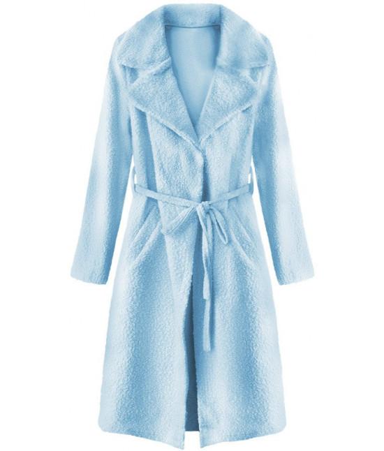 Dámsky kabát z golierom MODA593 modrý