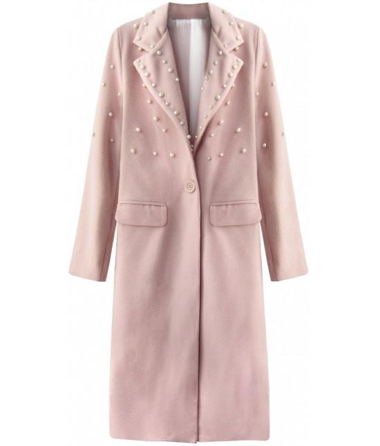 c51af48e81 Dlhý dámsky kabát s perlami MODA195 staroružový - Dámske oblečenie ...