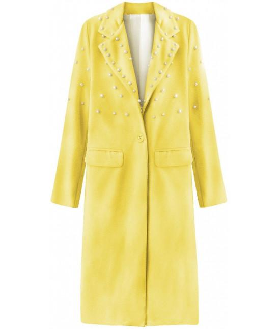 dddaab3c1f Dlhý dámsky kabát s perlami MODA195 žltý - Dámske oblečenie