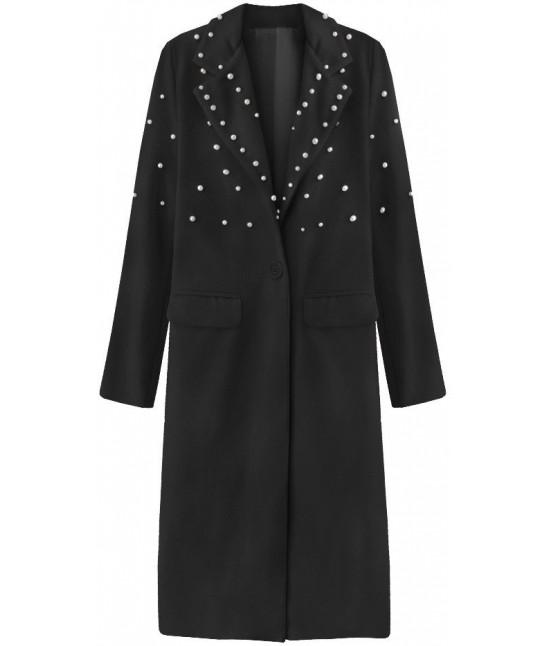 Dlhý dámsky kabát s perlami MODA195 čierny