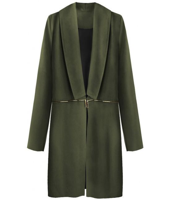 Dámsky zamatový jarný plášť MODA800 khaki - Dámske oblečenie ... 879b38a0e43