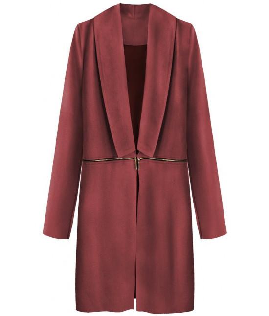 Dámsky zamatový jarný plášť MODA800 bordový - Dámske oblečenie ... f7e44acf952