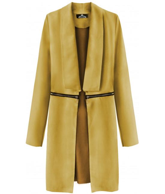Dámsky zamatový jarný plášť MODA780 horčicový - Dámske oblečenie ... 9574eb62b0a