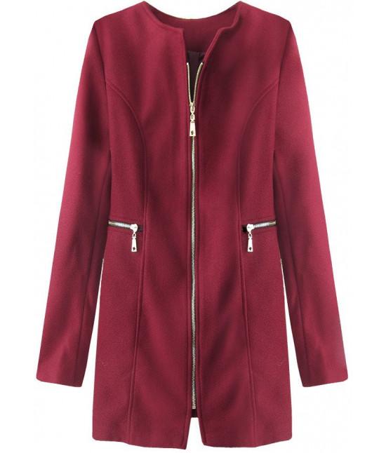 Dámsky kabát z vreckami MODA200 bordový