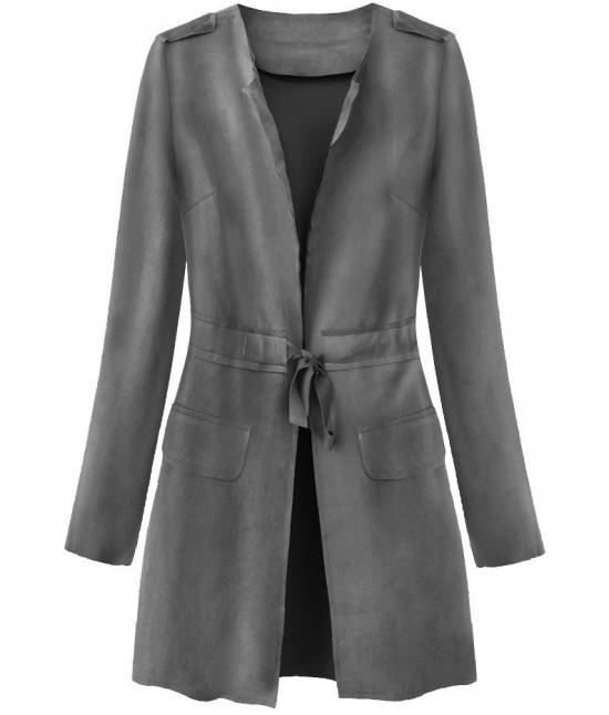 Dámsky tenký zamatový plášť MODA197 šedý