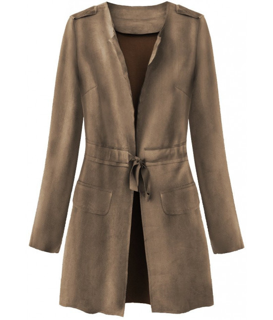 Dámsky tenký zamatový plášť MODA197 hnedý