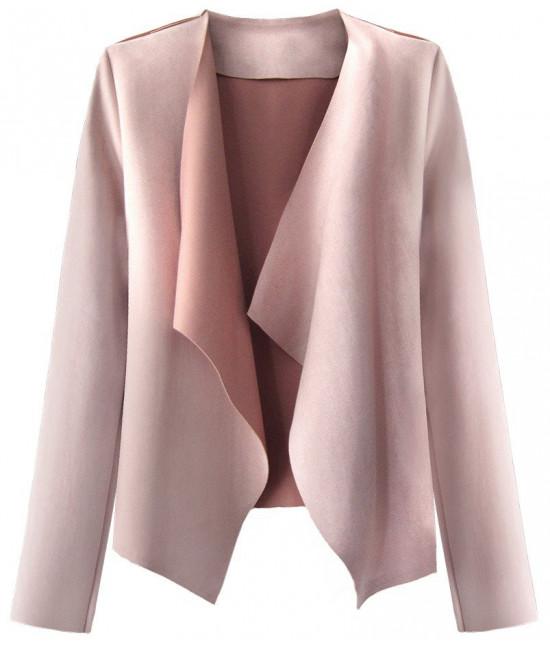 Krátky dámsky semišový kabátik MODA340 pudrovoružový