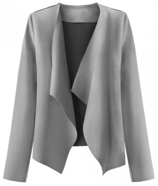Krátky dámsky semišový kabátik MODA340 šedý