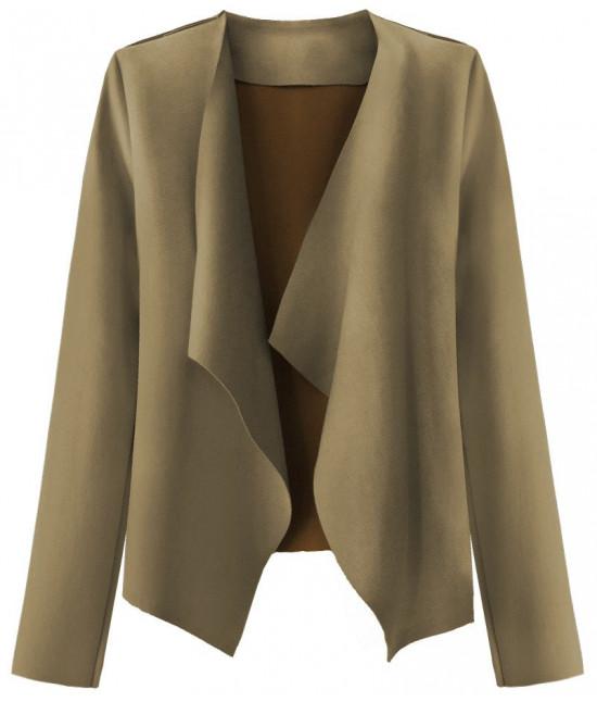 Krátky dámsky semišový kabátik MODA340 béžový