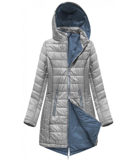 e1a9b34b2f Dlhá dámska jarná bunda MODA088 šedá - Dámske oblečenie
