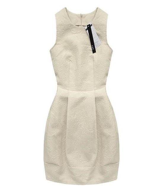 736425501d0c Dámske šaty s vtlačeným vzorom MODA121 béžové