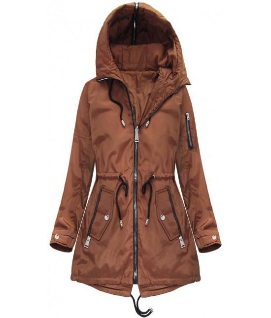 Obojstranná dámska jarná bunda MODA638BIG karamelová
