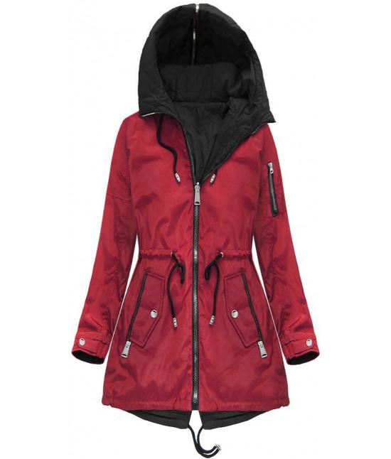 Obojstranná dámska jarná bunda MODA638BIG červená