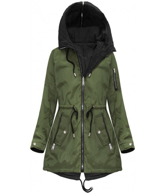 Obojstranná dámska jarná bunda MODA638BIG khaki